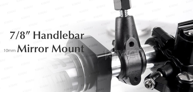 KiWAV 10mm mirror adapters for 7/8 inch handlebar