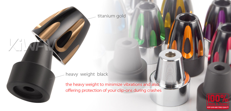 KiWAV bar ends Tower titanium gold with black base fit 7/8 inch 1 inch hollow handlebar Magazi