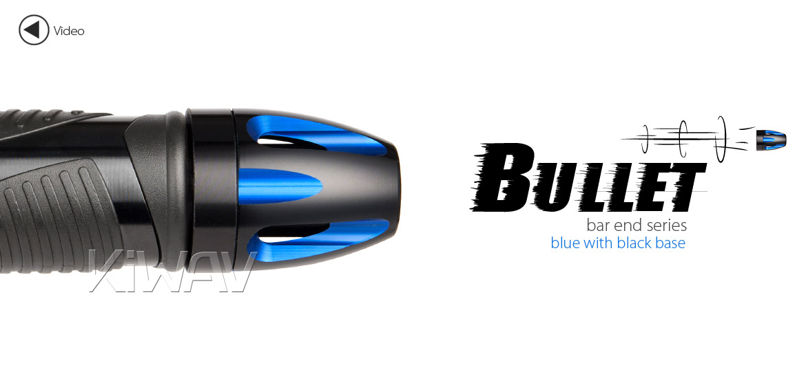 KiWAV bar ends Tower blue with black base fit 7/8 inch 1 inch hollow handlebar Magazi