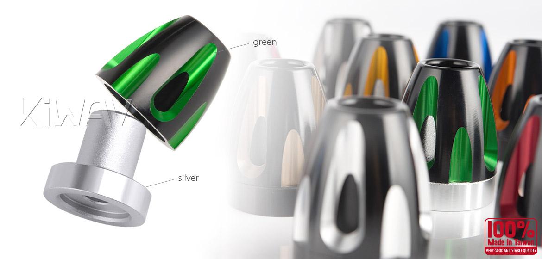 KiWAV bar ends Tower green with silver base fit 7/8 inch 1 inch hollow handlebar Magazi