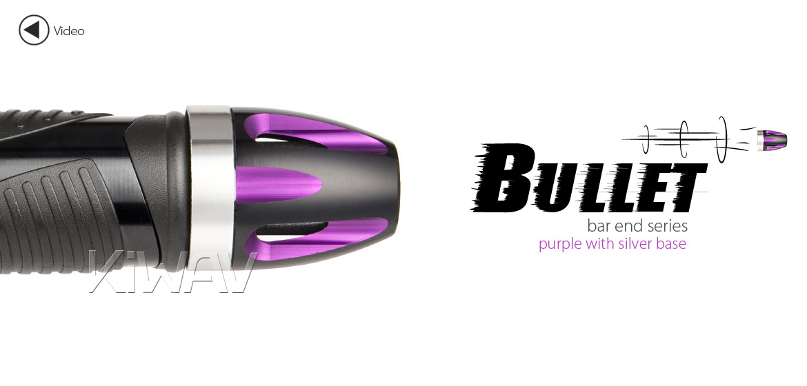KiWAV bar ends Tower purple with silver base fit 7/8 inch 1 inch hollow handlebar Magazi
