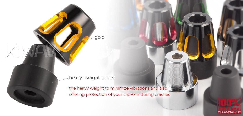 KiWAV bar ends Tower gold with black base fit 7/8 inch 1 inch hollow handlebar Magazi