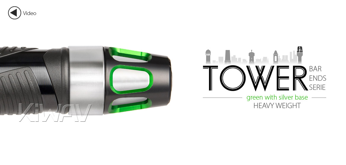 KiWAV bar ends Tower green with silver base fit 7/8 inch 1 inch hollow handlebar Magazi