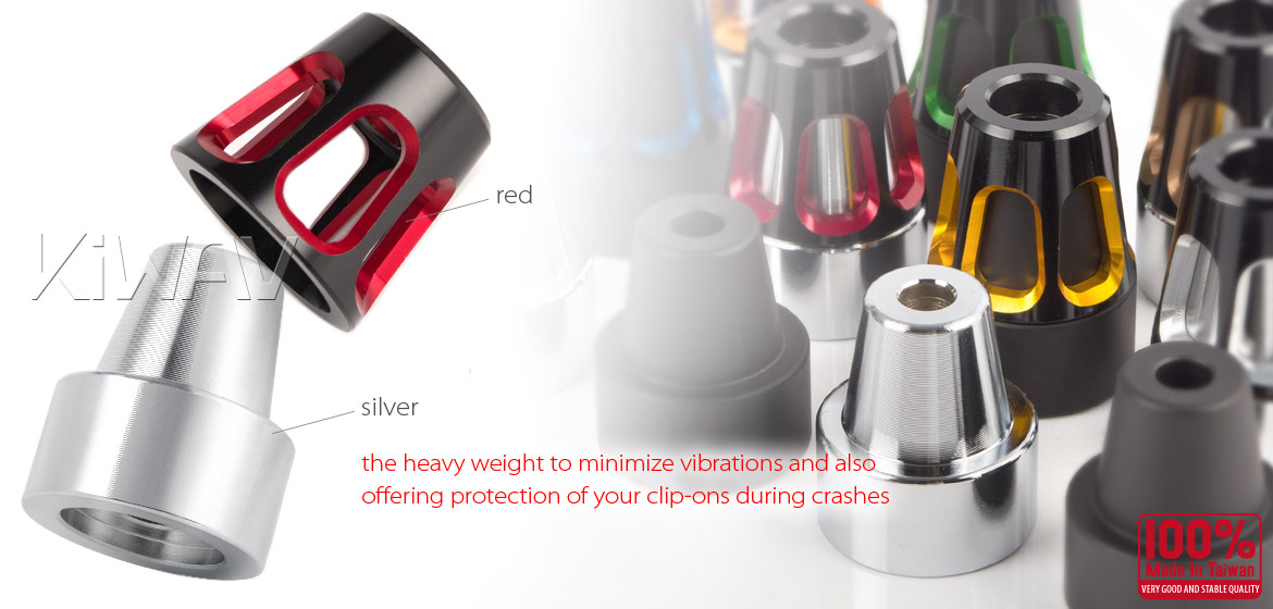 KiWAV bar ends Tower red with silver base fit 7/8 inch 1 inch hollow handlebar Magazi