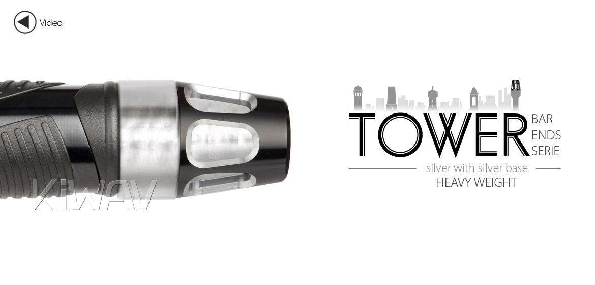 KiWAV bar ends Tower silver with silver base fit 7/8 inch 1 inch hollow handlebar Magazi