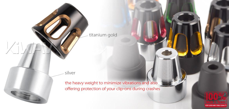KiWAV bar ends Tower titanium gold with silver base fit 7/8 inch 1 inch hollow handlebar Magazi