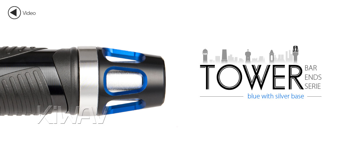 KiWAV bar ends Tower blue with silver base fit 7/8 inch 1 inch hollow handlebar Magazi