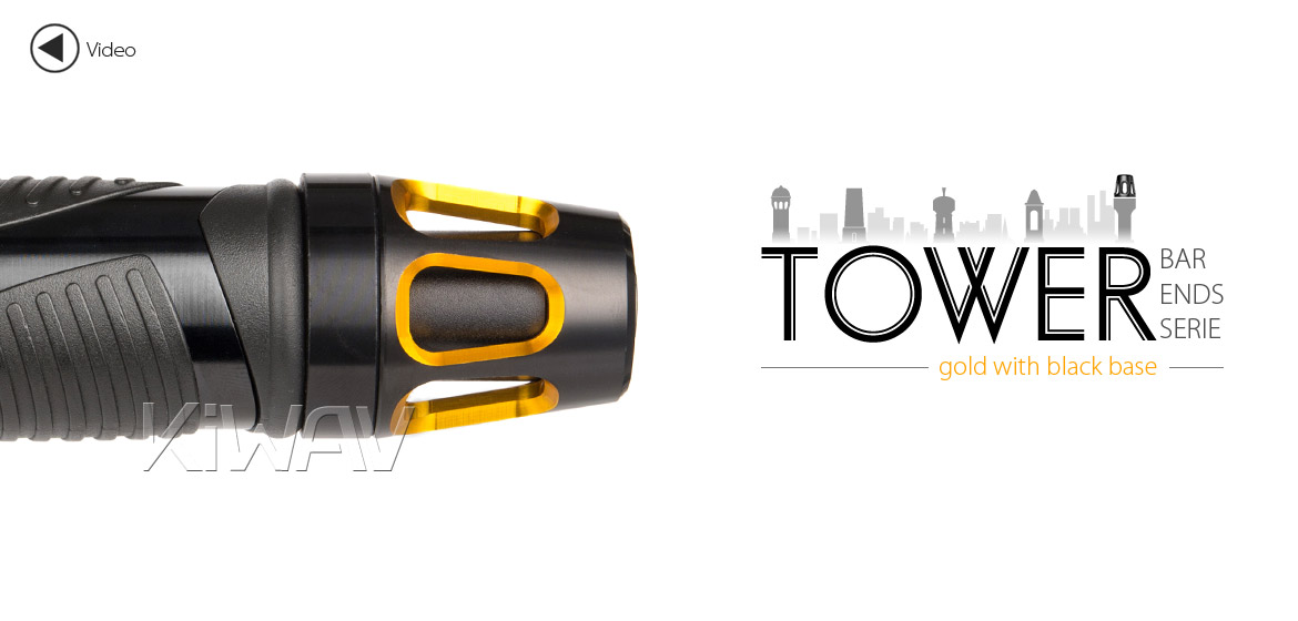 KiWAV bar ends Tower gold with black base fit 7/8 inch 1 inch hollow handlebar Magazi