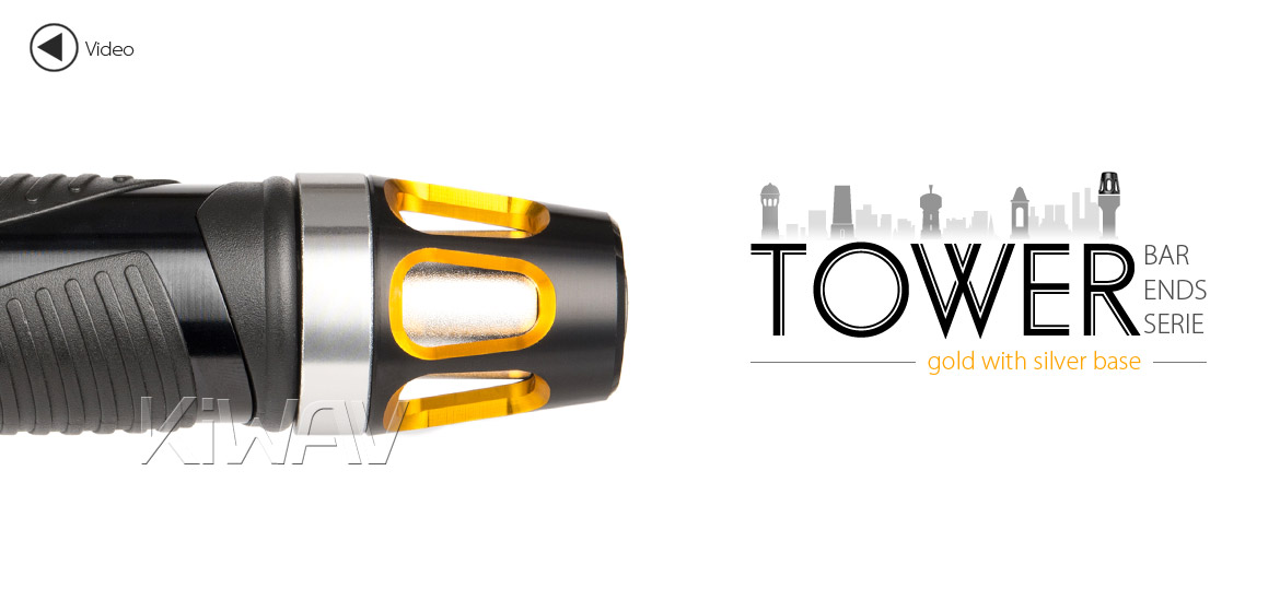 KiWAV bar ends Tower gold with silver base fit 7/8 inch 1 inch hollow handlebar Magazi