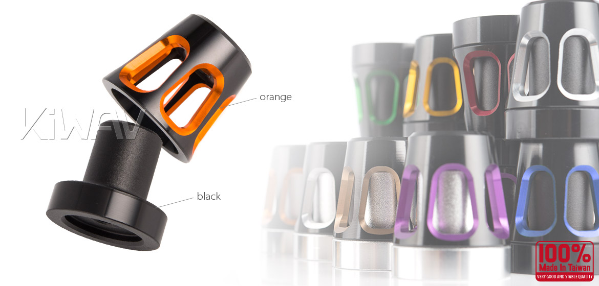 KiWAV bar ends Tower orange with black base fit 7/8 inch 1 inch hollow handlebar Magazi