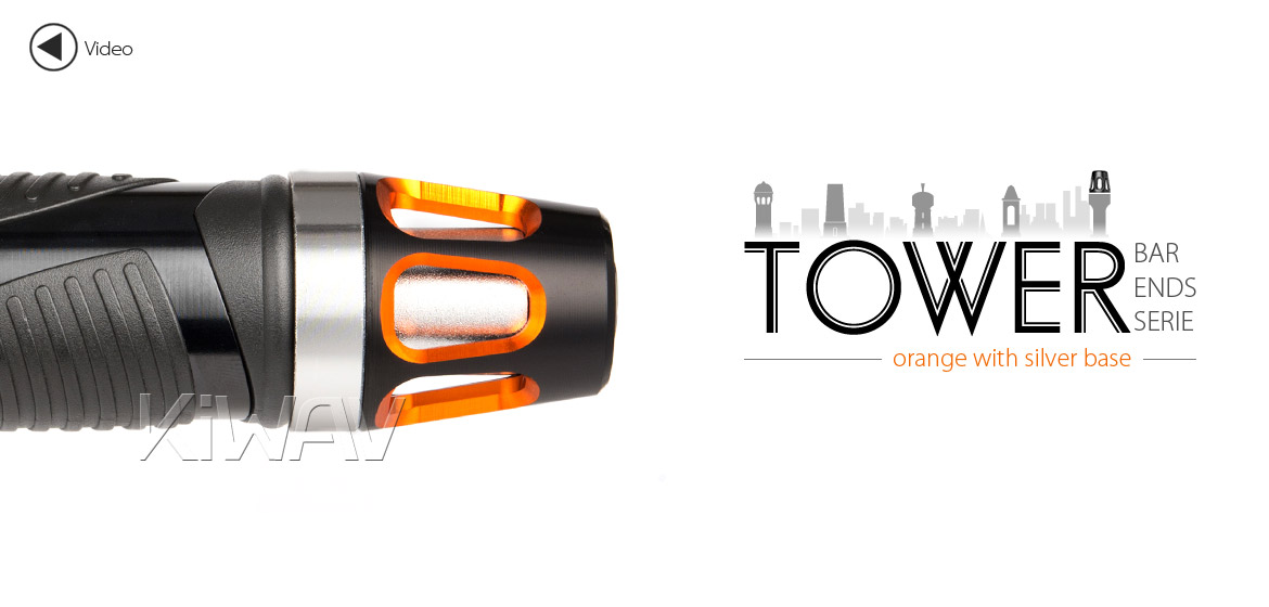 KiWAV bar ends Tower orange with silver base fit 7/8 inch 1 inch hollow handlebar Magazi