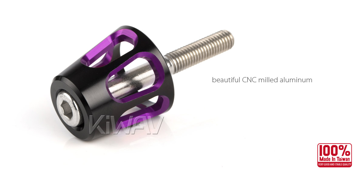 KiWAV bar ends Tower purple with black base fit 7/8 inch 1 inch hollow handlebar Magazi