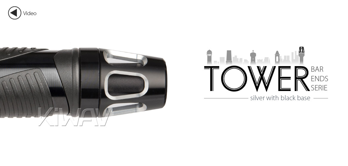 KiWAV bar ends Tower silver with black base fit 7/8 inch 1 inch hollow handlebar Magazi