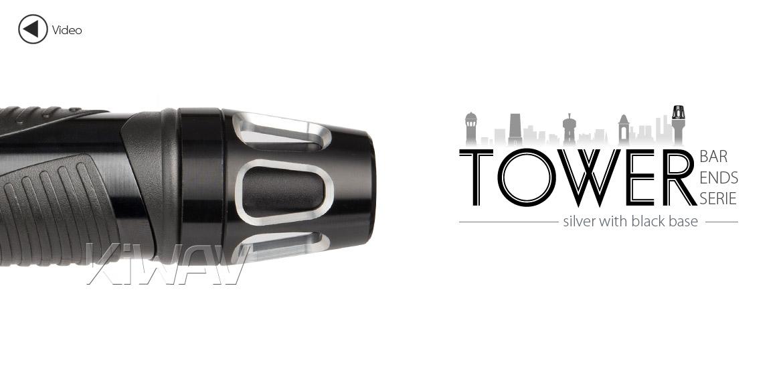 KiWAV bar ends Tower silver with black base fit 7/8 inch 1 inch hollow handlebar Magazi
