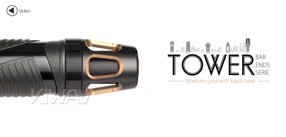 KiWAV bar ends Tower tgold with black base fit 7/8 inch 1 inch hollow handlebar Magazi