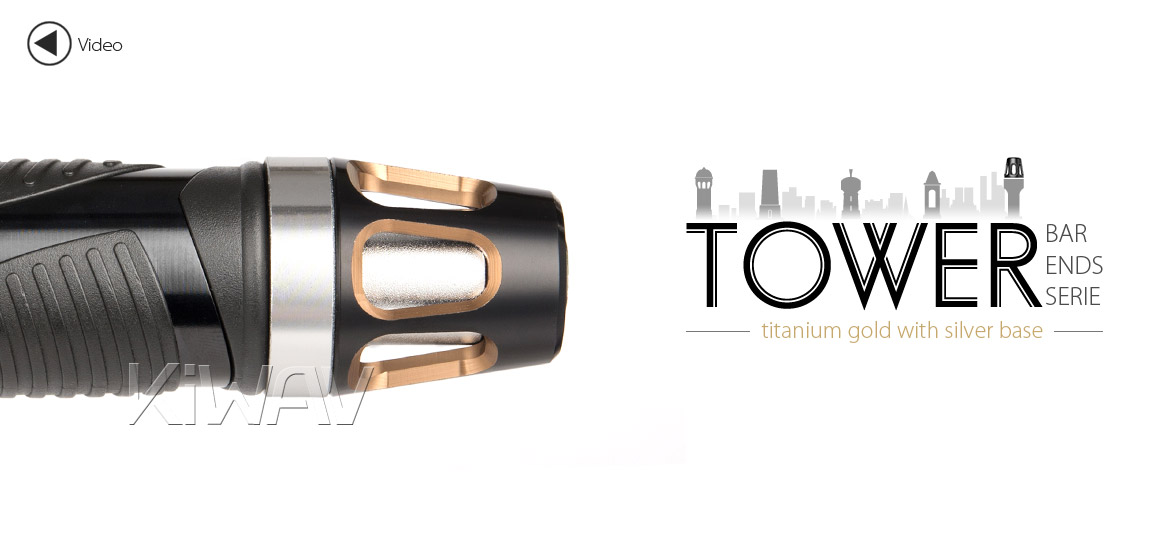 KiWAV bar ends Tower tgold with silver base fit 7/8 inch 1 inch hollow handlebar Magazi