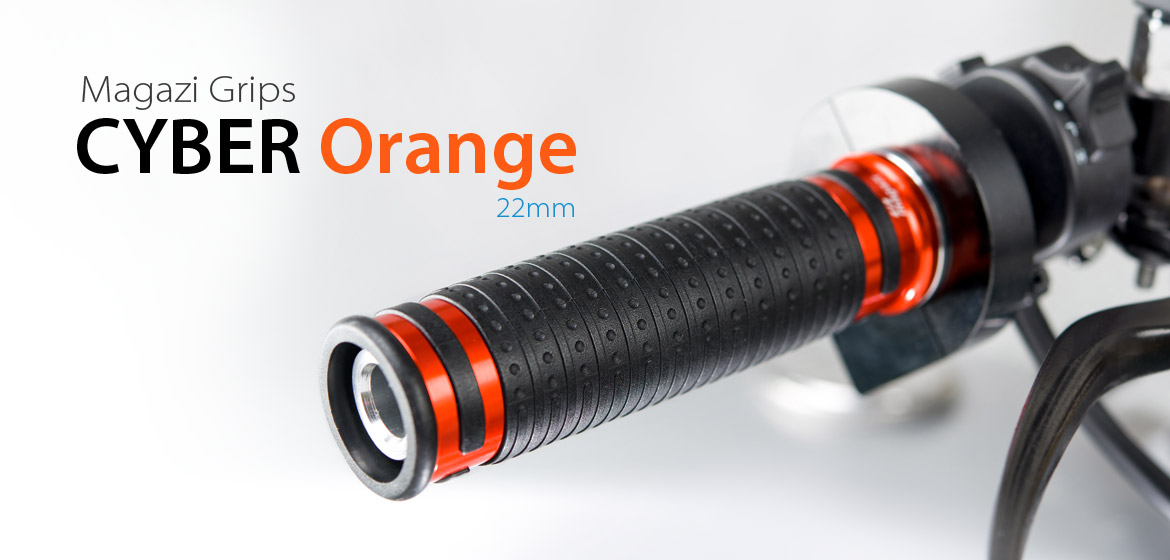 KiWAV Magazi Cyber motorcycle grips anodized aluminum orange