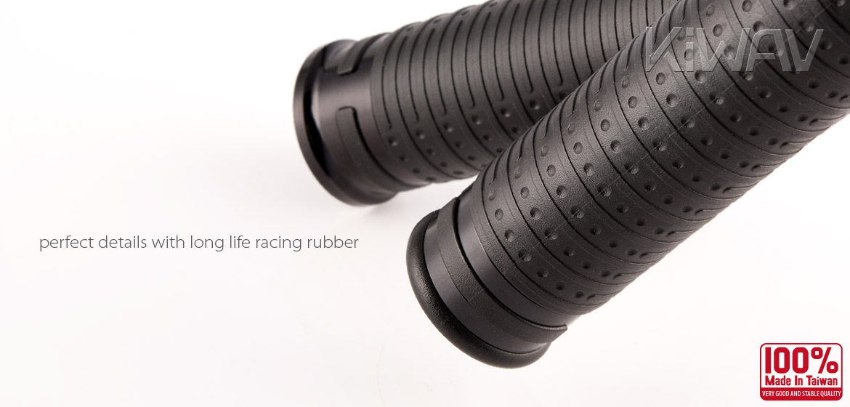 KiWAV Magazi Cyber motorcycle grips anodized aluminum black