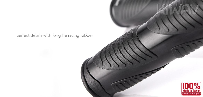 KiWAV Magazi Wave motorcycle grips anodized aluminum black