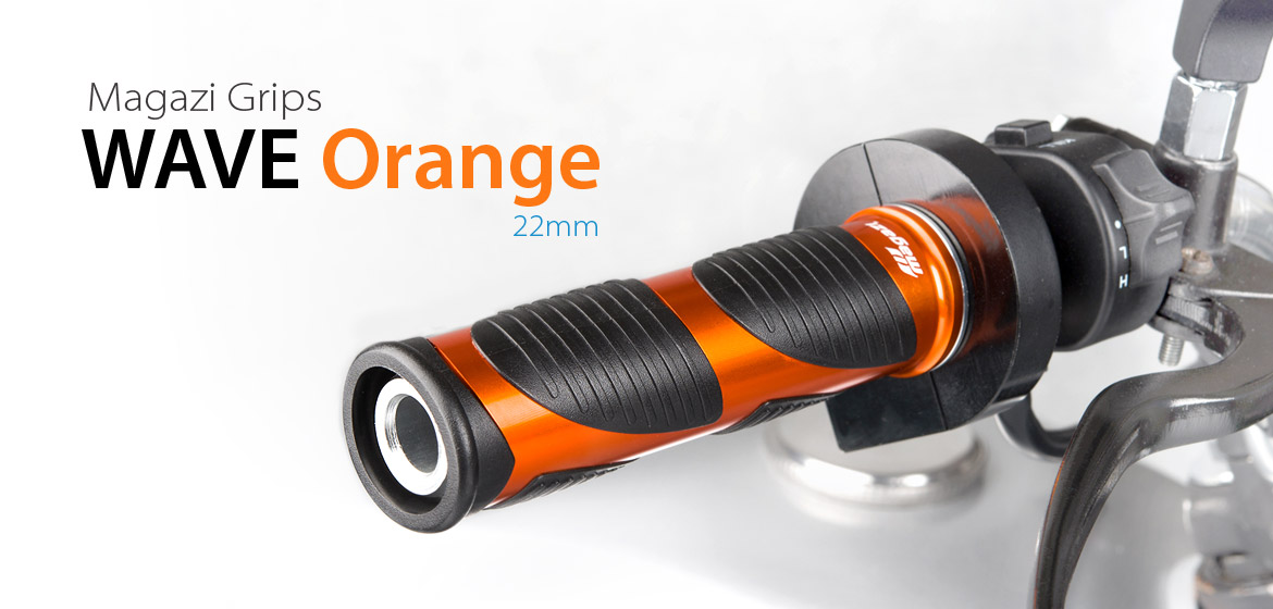 KiWAV Magazi Wave motorcycle grips anodized aluminum orange