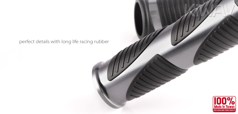 KiWAV Magazi Wave motorcycle grips anodized aluminum grey