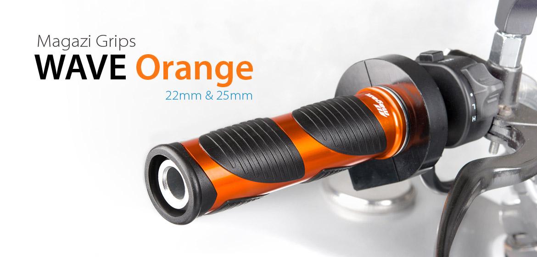 KiWAV Magazi Wave motorcycle grips anodized aluminum orange