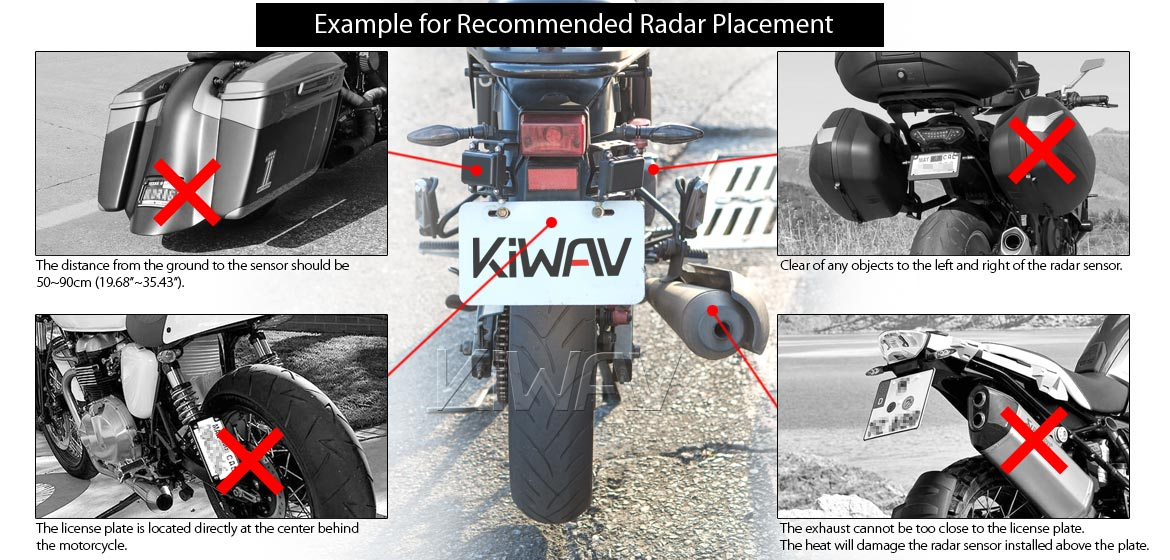 KiWAV motorcycle BSD system built in rear view mirrors Buck black for most BMW