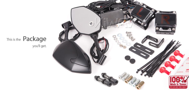 KiWAV motorcycle BSD system built in rear view mirrors Buck black for most Harley Davidson