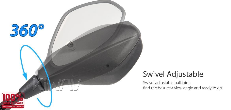 KiWAV motorcycle BSD system built in rear view mirrors Nonam black for most Harley Davidson