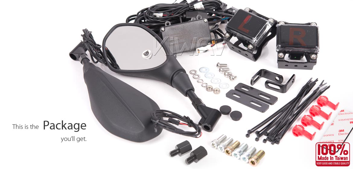KiWAV motorcycle BSD system built in rear view mirrors Nonam black for most BMW