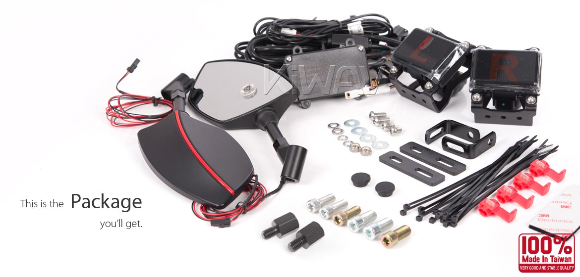 KiWAV motorcycle BSD system built in rear view mirrors Redline black for most BMW