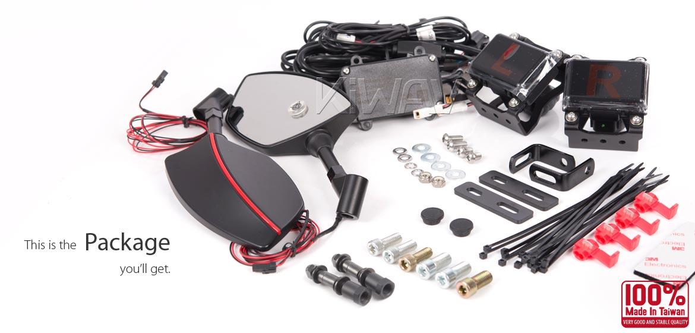 KiWAV motorcycle BSD system built in rear view mirrors Redline black for most Harley Davidson