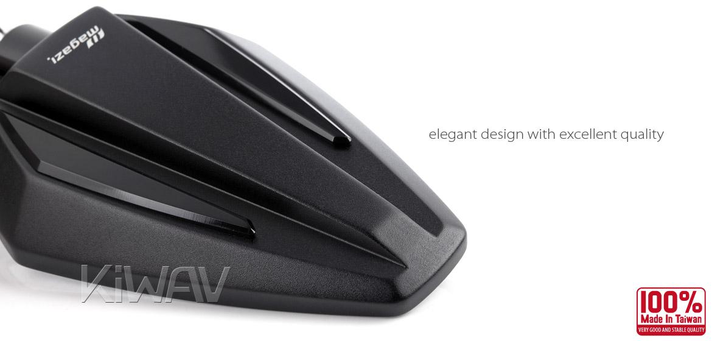 KiWAV Achilles black motorcycle mirrors universal fit Magazi