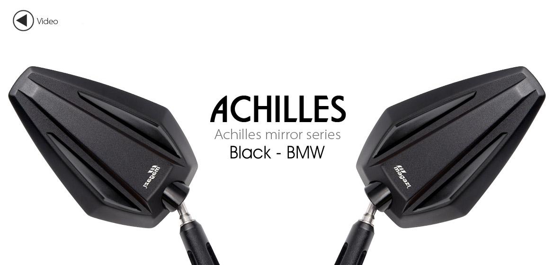 KiWAV Achilles black motorcycle mirrors fit bmw Magazi
