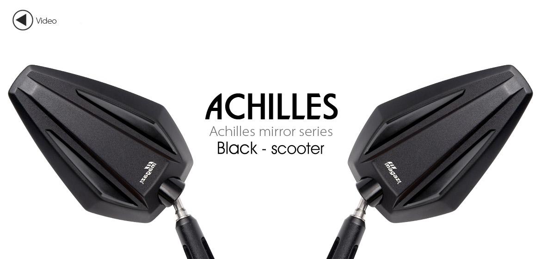 KiWAV Achilles black motorcycle mirrors fit scooter Magazi