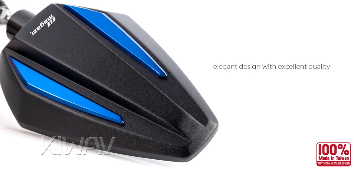 KiWAV Achilles blue motorcycle mirrors scooter fit Magazi