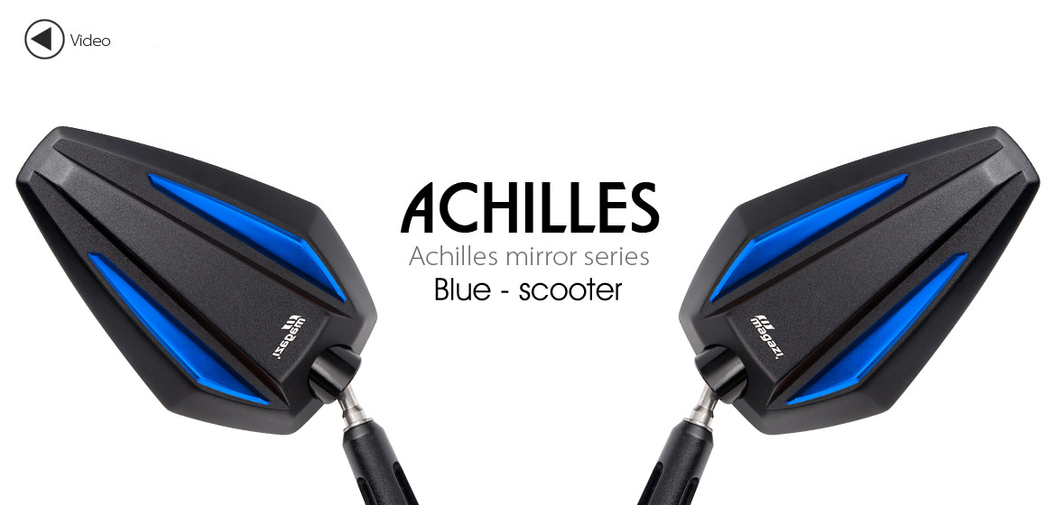 KiWAV Achilles blue motorcycle mirrors fit scooter Magazi