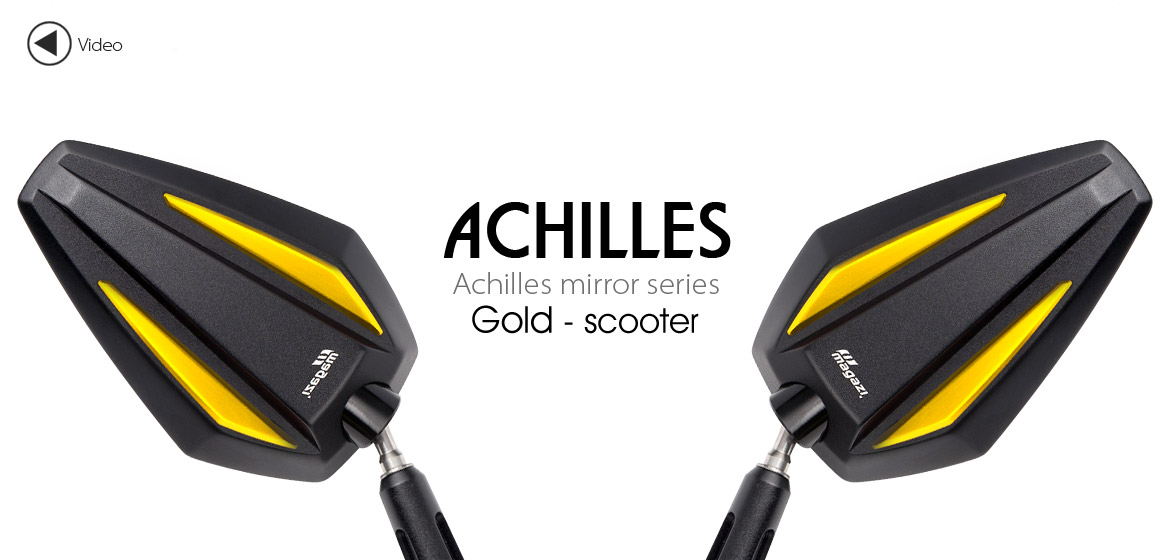 KiWAV Achilles gold motorcycle mirrors fit scooter Magazi