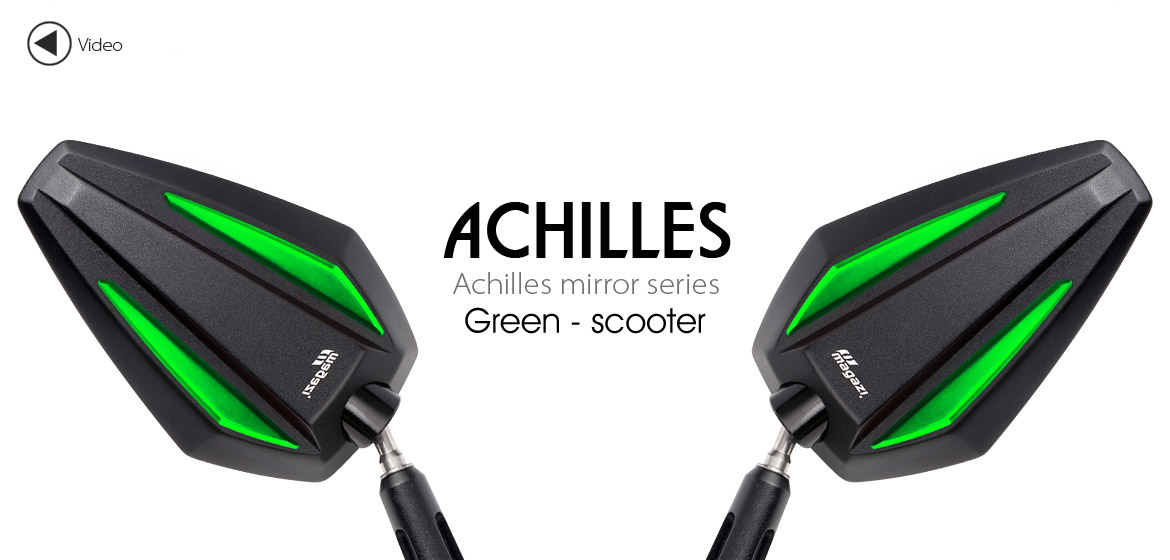 KiWAV Achilles green motorcycle mirrors fit scooter Magazi