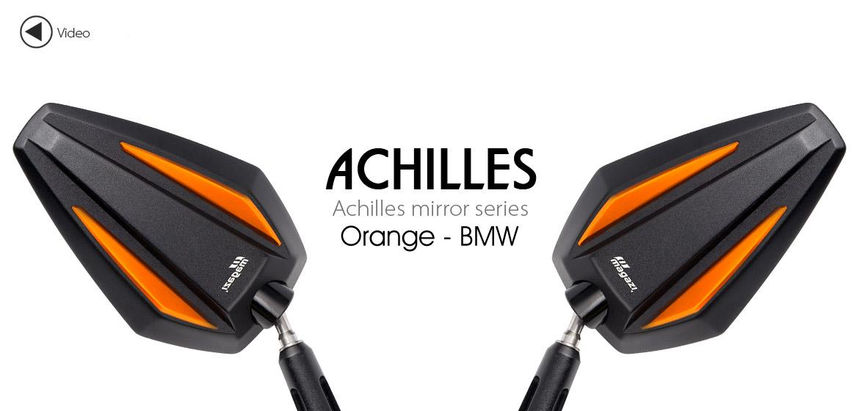 KiWAV Achilles orange motorcycle mirrors fit bmw Magazi