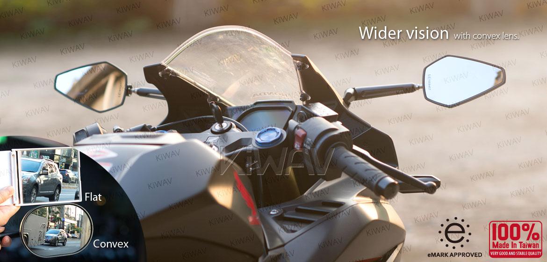 KiWAV Achilles motorcycle black mirrors CNC aluminum sportsbike with matte black adapter