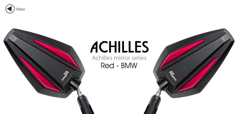 KiWAV Achilles red motorcycle mirrors fit bmw Magazi