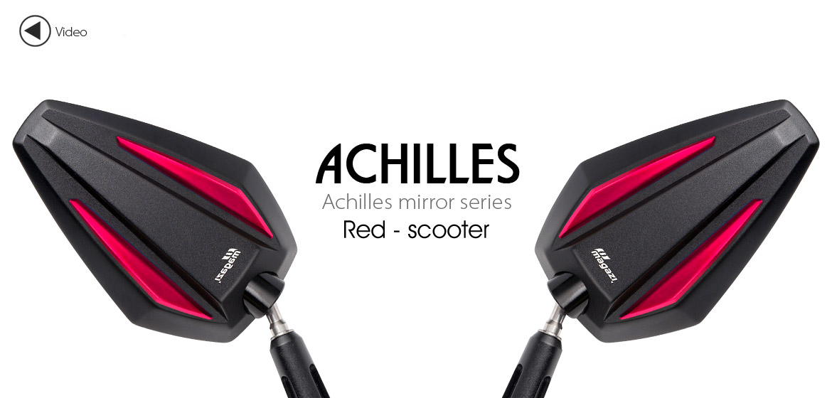 KiWAV Achilles red motorcycle mirrors fit scooter Magazi