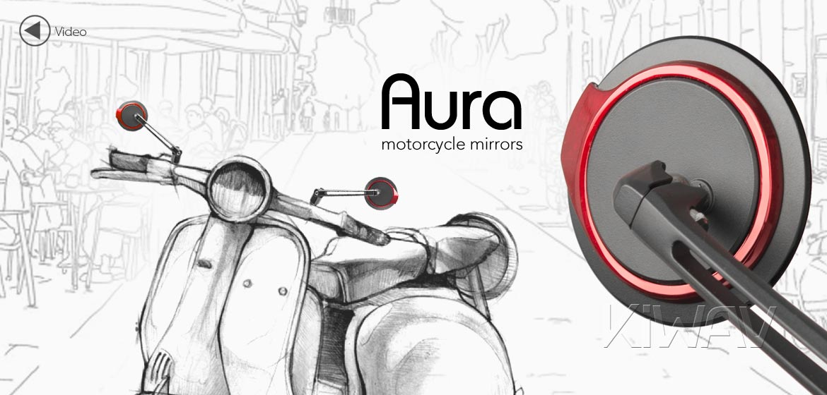 KiWAV motorcycle mirrors Aura red compatible for most modern Vespa models, GTS/ GTV/ LX/ LT/ LXV/ S
