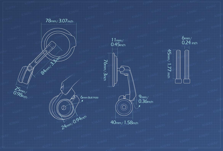 Measurement of KiWAV motorcycle bar end mirrors Aura compatible for M6 threaded handlebars