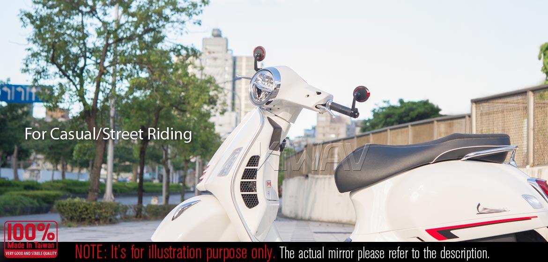 KiWAV motorcycle bar end mirrors Aura black compatible with some Vespa models, GTS/ GTV/ GT