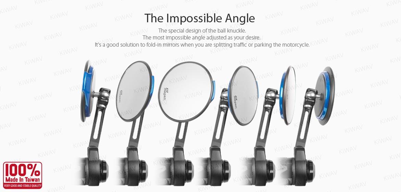 KiWAV motorcycle bar end mirrors Aura blue compatible with some Vespa models, GTS/ GTV/ GT