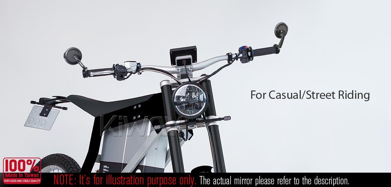 KiWAV motorcycle bar end mirrors Aura blue compatible for BMW