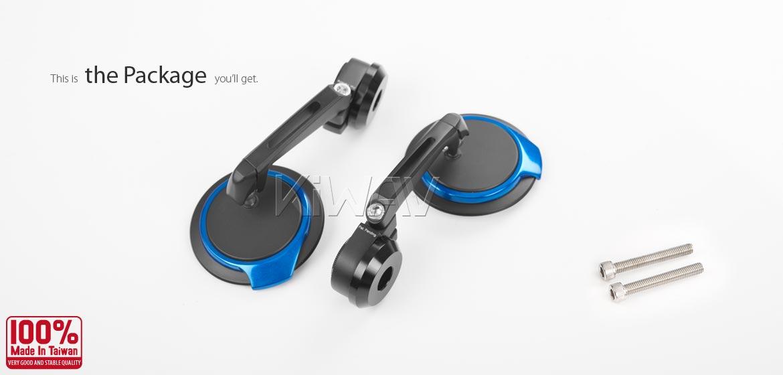 KiWAV motorcycle bar end mirrors Aura blue compatible for M6 threaded handlebars
