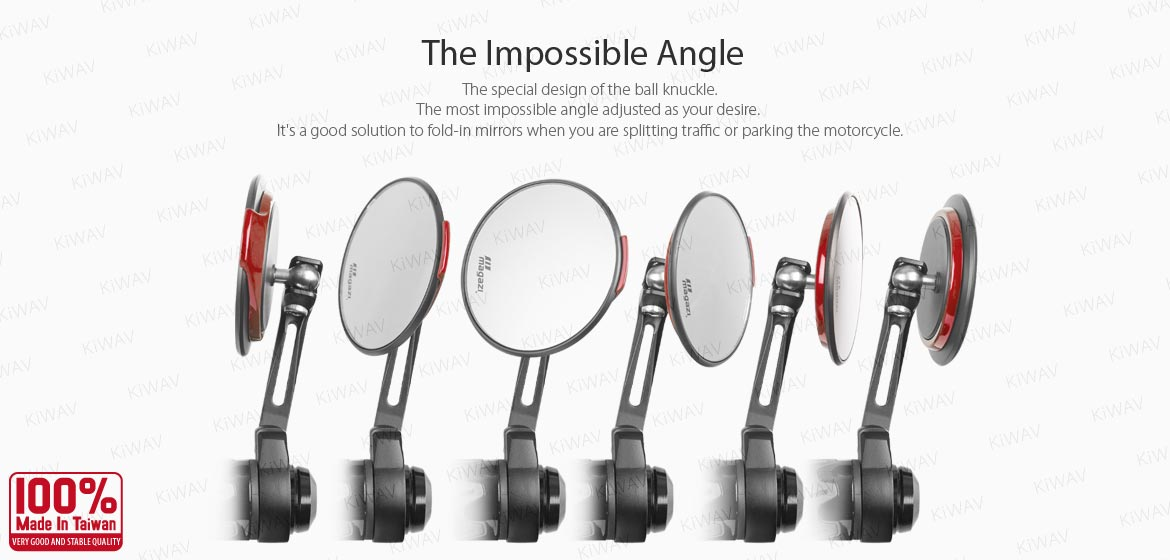 KiWAV motorcycle bar end mirrors Aura red compatible with some Vespa models, GTS/ GTV/ GT